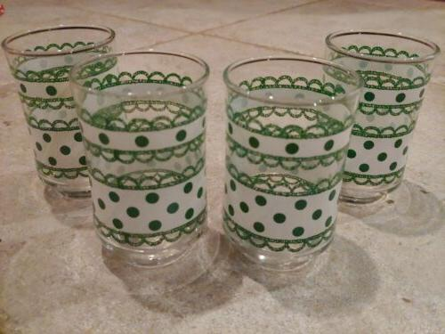 Libbey Vintage Juice Glasses white green Bolero 4 NIB dots
