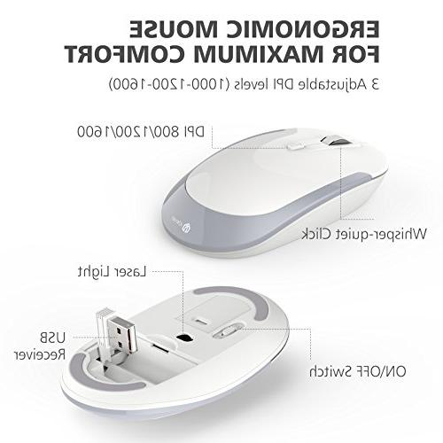 437387bd797 iClever GK03 Wireless and Combo 2.4G Portable Mouse, Design Size Thin  Stable DPI,