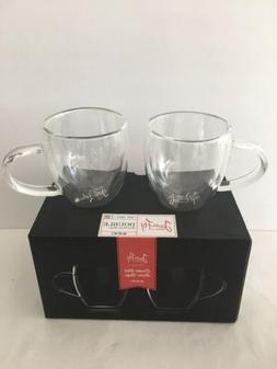 New In Box 2 Double Walled Thermos Clear Glass Coffee Espres
