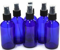 Pack of 6 Cobalt Blue Glass Bottles with Black Fine Mist Spr
