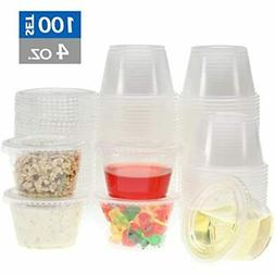 Freshware Plastic Portion Cups With Lids 4 Ounce, 100 Sets S