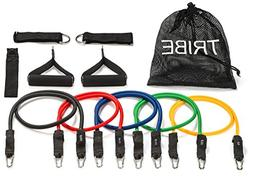 Tribe 11PC Premium Resistance Bands Set, Workout Bands - wit