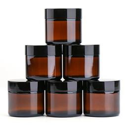 2 oz Round Glass Jars  - Empty Cosmetic Containers with Inne