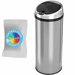 iTouchless Round Stainless Steel Touchless Trash Can : 13 Ga