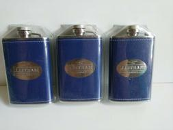 Set of 3  4oz Stainless Steel Martell cogniac Flasks -