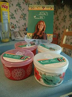 Pioneer Woman Set of 4 Containers 24 Oz. Vented Lids New