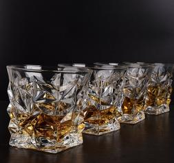Set of 4 Crystal Clear Whiskey Glasses Scotch Bourbon Luxury