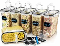 Set of 6 Large Cereal Dry Food Storage Containers 4L 135.3oz