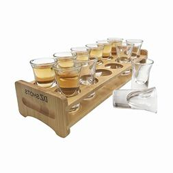 D&Z 12 Pcs Shot Glass Set with Tray,Thick Base Crystal Clear