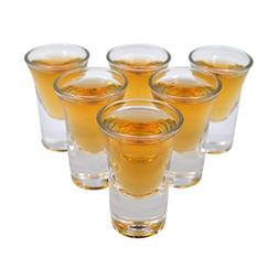 D&Z 6Pcs Shot Glass Set with Thick Cup Base for Barware, Whi