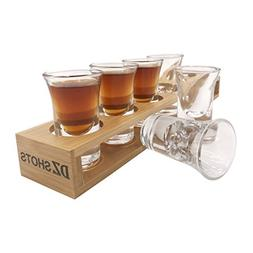 D&Z Shot Glass set with Tray,include 6 Thick Base Crystal Cl