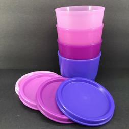 Tupperware Snack Cups 4 oz. Set of 4 Containers Purple Pink