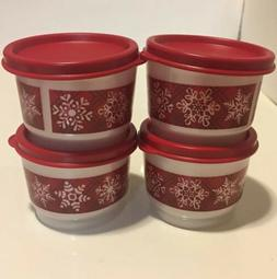 Tupperware SNOW PLACE LIKE HOME Snack Cups 4 ~ 4 oz - Red An