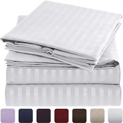 Mellanni Striped Bed Sheet Set - HIGHEST QUALITY Brushed Mic