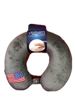 The Comfort Memory Foam Neck Travel Pillow w/American Flag E